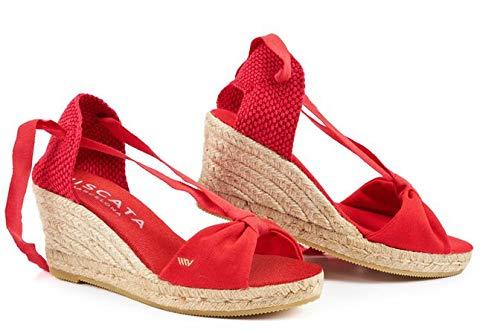 VISCATA Barcelona , Damen Espadrilles, Rot - Rojo - Rojo - Größe: 38 EU M Blue Suede Wedge