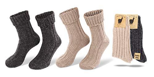 StilwerX 2 pares de calcetines de alpaca para hombres y mujeres, cálidos...
