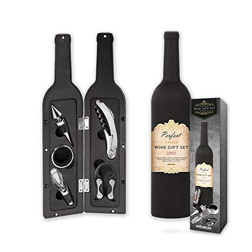 mikamax - Weingeschenkset - Wine Gift Set - Weinset mit Weinzubehör - Flaschenöffner - Weinverschluss - Weinausgießer - Folienschneider - 33 x 7 x 7 cm - Schwarz