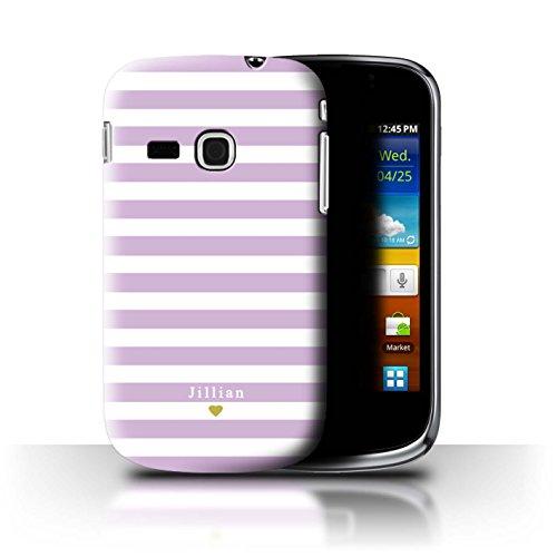 Stuff4 Personalizzato Strisce/Banda Personalizzare Custodia/Cover per Samsung Galaxy Mini 2/S6500 / Bambino Cuore Rosa Design/Iniziale/Nome/Testo Caso/Cassa