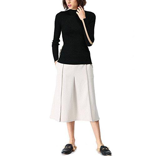CICI RAN Frauen neue Art und Weise strickte Jumper Ausdehnungs ange Hülsen Streifen Oberseite