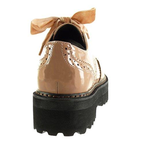 Angkorly - Scarpe Moda scarpa derby zeppe donna verniciato perforato finitura cuciture impunture Tacco a blocco alto 4.5 CM Rosa