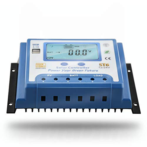 Anancooler Solar Laderegler 40 Amp 12V 24V mit Dual 5V USB Ausgang Hintergrundbeleuchtung LCD Display Solar Panel Laderegler Multi Circuit Schutz Off Grid System
