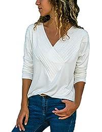 Dokotoo Oberteile Damen Sexy V Ausschnitt Bluse Shirt Herbst Langarmshirt  S-XXL 37d9e1c8c3