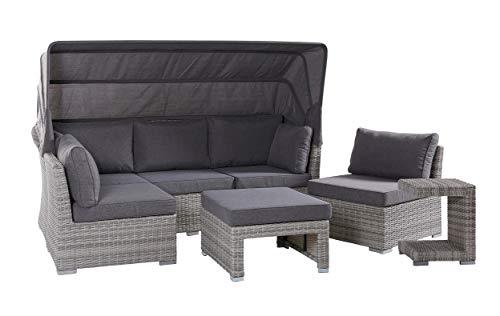 Wholesaler GmbH LC Garden XL Muschel-Set Loungebank Barcelona Parma White Grey