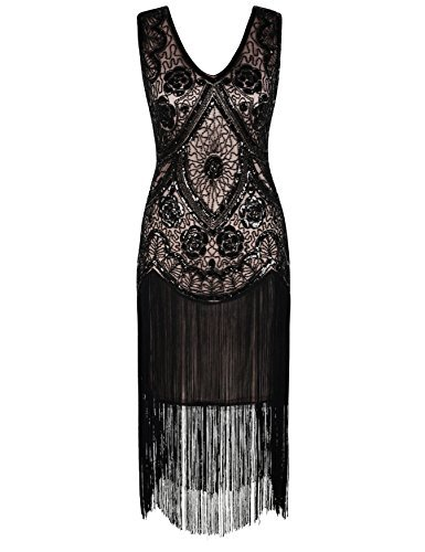 kayamiya Damen Vintage 1920er V-Ausschnitt Pailletten Perlen Floral Flapper Gatsby Kleid L Schwarz Beige