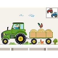 """Wandtattoo""""Traktor mit Anhänger MIDI"""" Bauernhof personalisierbarer Wandsticker für Kinderzimmer und Babyzimmer"""
