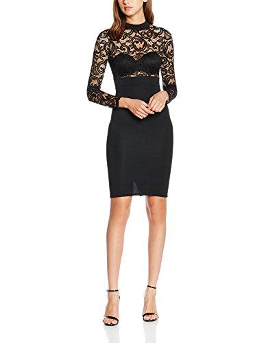 Quiz Lace Long Sleeve Midi, Robe Femme Noir - Noir