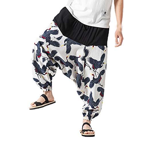 BHYDRY Herren Neu Style Retro Broken Flower Hosen Fashion Large-Sized Wide-Legged Hosen(XX-Large,Weiß) -