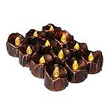 WRMING® LED Kerzen,12 LED Flammenlose Kerzen,Elektrische Teelichter Kerzen für Halloween,Weihnachten,Party,Bar,Hochzeit