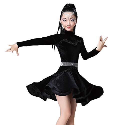 HUO FEI NIAO Tanzkostüm - Latin Dance Kostüm Girl Lace Spiel Kostüm Tanzkostüm Herbst (Farbe : SCHWARZ, größe : ()