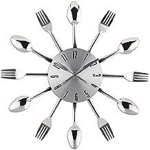 Reloj Pared Moderno Plata Relojes de Pared Cocina Silencioso Forma de Cuchara y Tenedor
