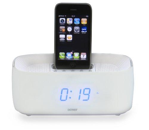 Denver Electronics IFM-15 - Docking-Lautsprecher (2.0 Kanäle, 3,5 mm, iPhone,iPod, LCD, Weiß, AC, Batterie/Akku) Stereo Ipod Docking Station