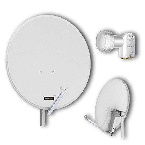 Opticum QA80 Sat Antenne (Aluminium, inkl. Opticum Quad LNB - LQP-O4H) lichtgrau