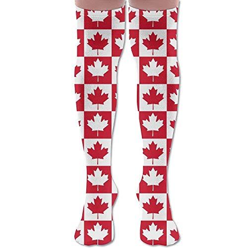 Men's Women's Canadian Canada CA Flag Maple Leaf 65Cm Casual Soft Fabric Sport Knee High Socks