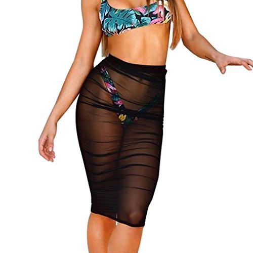 Zarupeng Strand Sonnencreme Mesh Minirock, Mode Damen Perspektive eng Slim Bleistift Rock Hüfte Rock Beachwear Kurzekleid (XL, Schwarz)