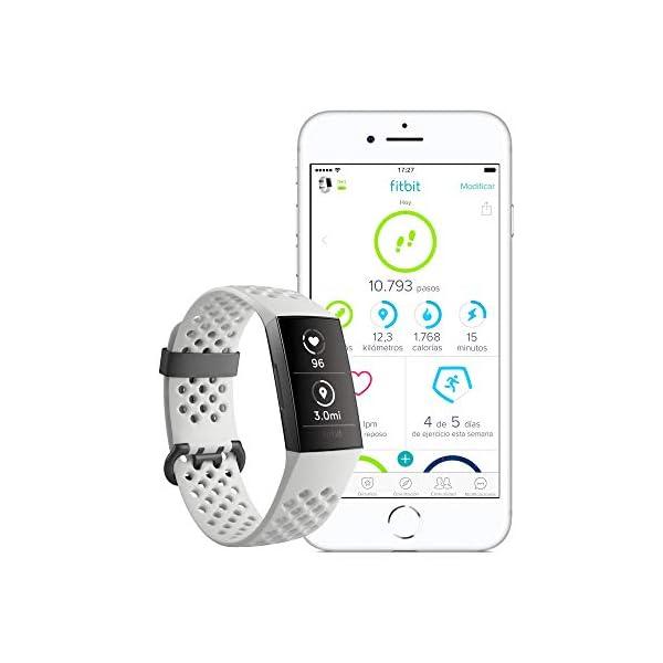 Fitbit Charge 3 Pulsera Avanzada de Salud y Actividad física, Unisex-Adult, Blanco Hielo/Aluminio Color Grafito, Talla… 3