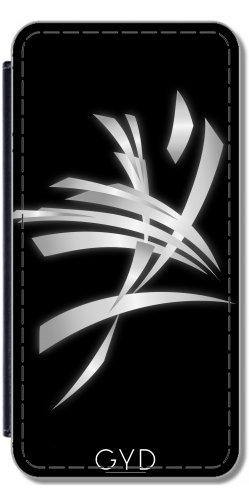 Leder Flip Case Tasche Hülle für Apple iPhone 5C - Silber Schwarz Abstrakte Kunst Mens by Nina Baydur Lederoptik