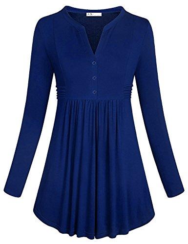 Anna Smith Tunika Tops für Frauen, Damen Langarm-Tasten Henley Shirt Form Passend Flowy Empire Wasit Kleidung Runde Saum Designer Stretchy Soft Tee Blusen Blau M (Damen Designer-tunika)