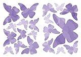 dekodino® Wandtattoo Schmetterlinge in Aquarell Lila 20 Stück Wandsticker Set