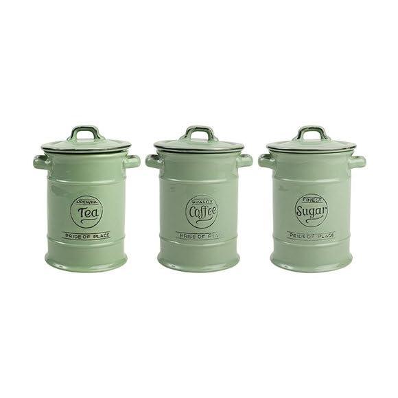 T and G Pride of Place Tea Coffee & Sugar Storage Jars - Sage Green