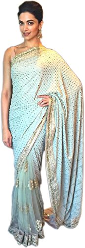 Deepika Padukone Light Blue Embroidered Georgette & net Saree with blouse  available at amazon for Rs.2749