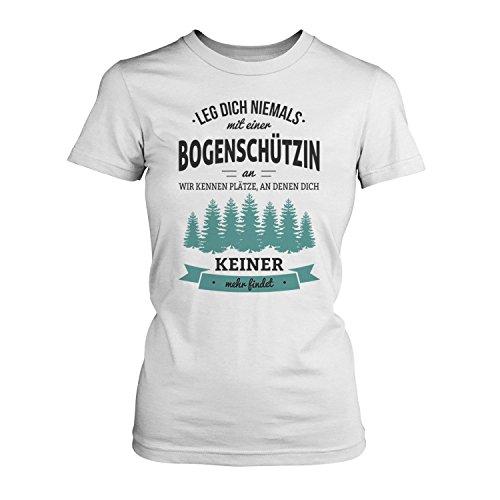 Fashionalarm Damen T-Shirt - Leg dich niemals mit einer Bogenschützin an | Fun Shirt mit Spruch als Geschenk Idee für Schützinnen Weiß