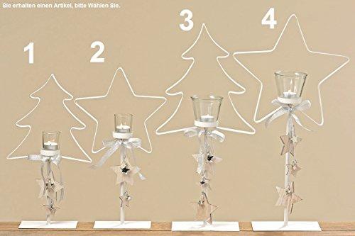 Stern Weihnachten Tannenbaum weiß Teelichthalter Kerzenhalter Metall Deko (1 Tannenbaum 45 cm)