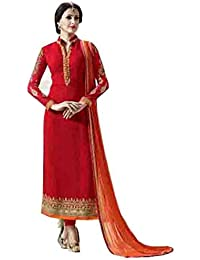 Stylish Fashion Red Embroidered Women's Georgette Straight Salwar Suit
