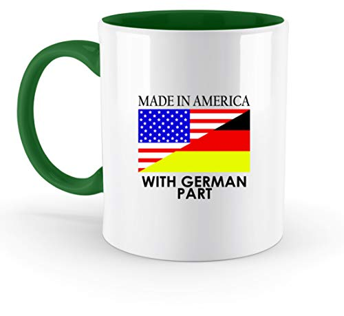 Made In America With German Part - Vereinigte Staaten, USA, Deutsch, Deutschland, Amerika - Zweifarbige Tasse -330ml-Irish Green