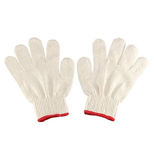 White Knit Glove (ZCHXD 2 Pairs Full Finger Elastic Wrist Cuff Knit Cotton Work Gloves Red White)