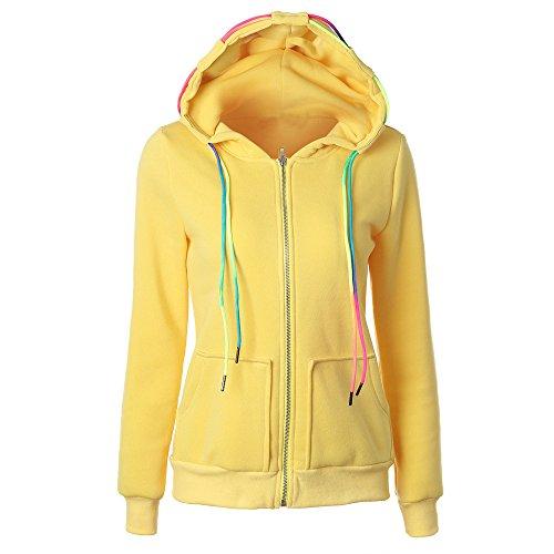 ESAILQ Mode Damen Hoodie Sweatshirt mit Kapuze Mantel Zipper Jacke(L,Gelb) - Rot Vinyl Zipper