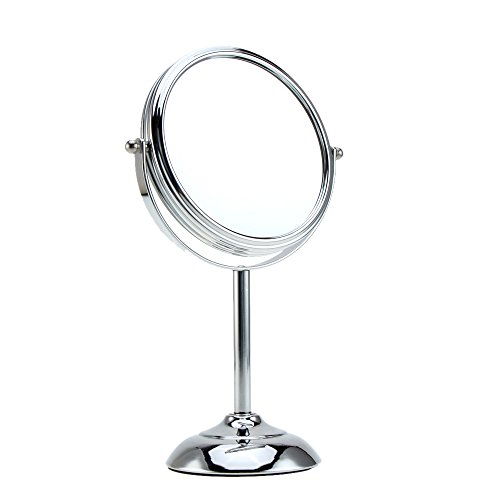 Anself 6 Inch 10x Vergrößerung runde Form Circular Dual doppelseitig rotierende Make-up kosmetische Desk Stand Kosmetikspiegel mit Halfsphere Basis für Frauen Mädchen Lady