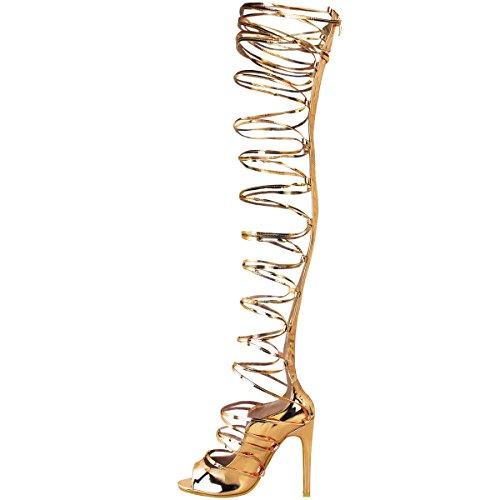 Escarpins/sandales à lanières style spartiates - talon aiguille - sexy/soirée Rose doré métallisé / chromé