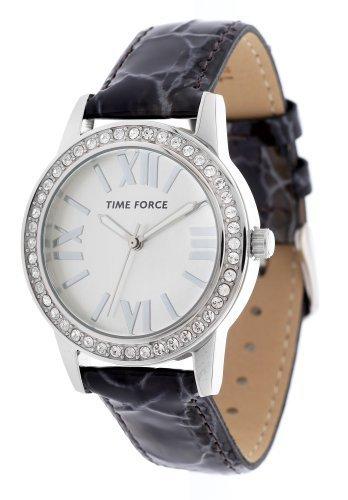 Time Force TF4087L02–Montre avec bracelet en cuir pour femme, couleur noir/gris