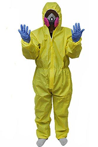 Bad Breaking Kostüm Lab - MingoTor Halloween Jumpsuit Bodysuit mit Maske und Handschuhe Gelb