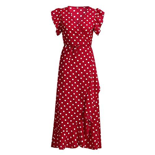 NDGDA Damen Maxikleid mit Punkten, Sommerkleid -