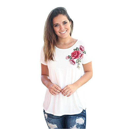 Frauen Tops, lmmvp Frauen Applikationen Rose Splice drucken Runde Hals Pullover T-Shirt