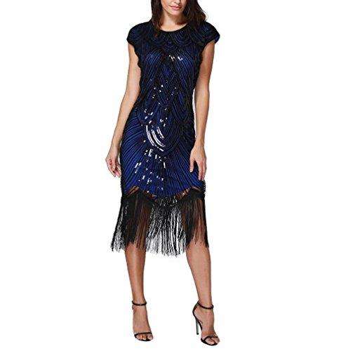 (Trada Abendkleid Tanzrock, Frauen Quaste Webart Paillettenkleid Prom Kleider Perlen Pailletten Art Nouveau Deco Flapper Dress Minikleid Party Club Elegante Kurz Kleider (S, Blau))