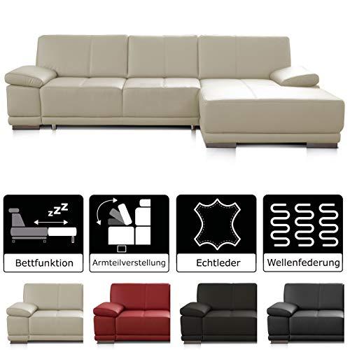 CAVADORE Schlafsofa Corianne mit Longchair rechts / Ledercouch in modernem Design / Inkl. beidseitiger Armteilverstellung / 282 x 80 x 162 / Echtleder weiß