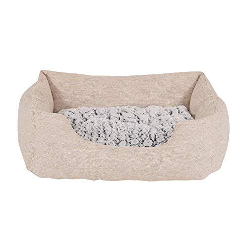 Hundebett Hundekissen Hundekörbchen mit Wendekissen meliert Größe S 60x50 cm Farbe beige
