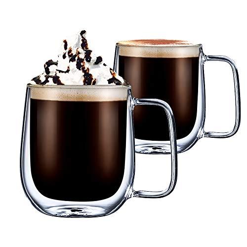 cmxing Doppelwandige Gläser Set Thermoglas mit Griff Kaffeeglas Trinkgläser 2-teiliges 300 mL für Espresso Tee Latte Cola Cappuccino Getränk (300 mL)