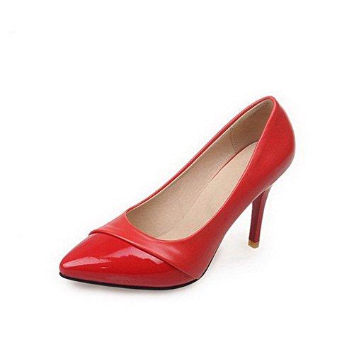 AllhqFashion Femme Verni Tire Pointu à Talon Haut Couleur Unie Chaussures Légeres Rouge