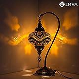 Lampada da tavolo con mosaico turco, splendido stile marocchino, paralume unico a forma di globo, serie a collo di cigno (stelle marrone)