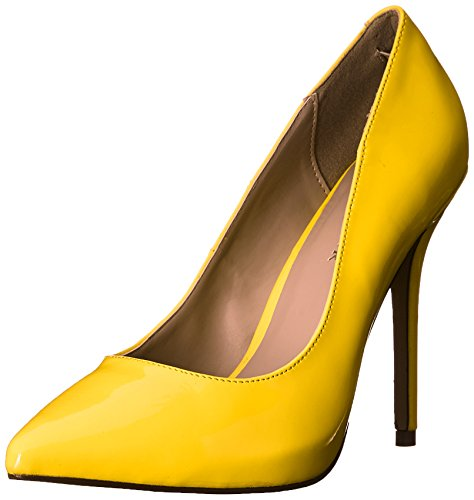 Pleaser Damen Amuse-20 Pumps, Schwarz Neon Yellow Pat