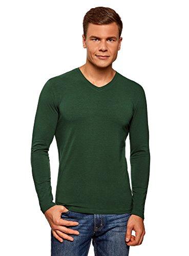 oodji Ultra Herren Tagless Langarmshirt mit V-Ausschnitt, Grün, DE 46-48/S
