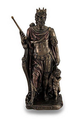 Zeckos Bronze Finish King David Statue handbemalt Akzente -