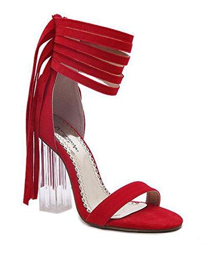 Aisun Damen Fashionable Troddel Offene Zehen Sandalen Mit Reißverschluss Rot  ...