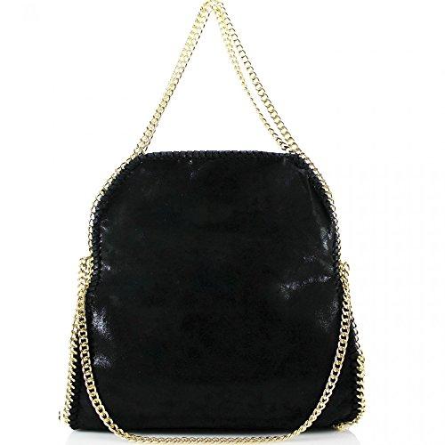 LeahWard® Damen Groß Kette Tote Foldable Weich Handtaschen Schultertasche Groß Tasche Schwarz H64cm x W40cm x D13cm