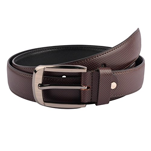 Snoby Brown Leatherette For Men With Smale Sqare Dot Pattern Round Shape Buckle Belt